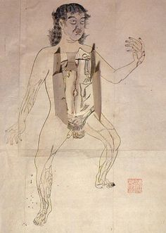 The Male | The anatomical illustration is based on Pinax Microcosmographicus, a book by German anatomist Johann Remmelin (1583-1632) that entered Japan via the Dutch trading post at Nagasaki.