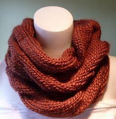 pattern: burberry inspired cowl   yarn: 3 balls latte by ella rae in russet brown
