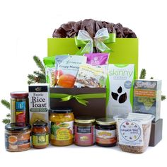 Healthy Gourmet Gifts - Wellness Deluxe Vegetarian - organic and all natural, $155.00 (http://www.healthygourmetgifts.com/wellness-deluxe-vegetarian-organic-and-all-natural/)