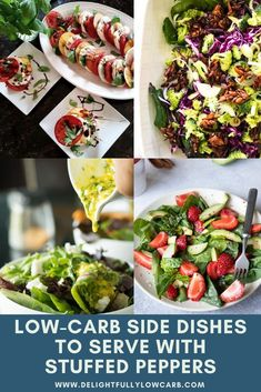 Here are 10 great side dishes to pull out when you're wondering what to serve with stuffed peppers. Add an appetizer to your peppers for a satisfying meal | what to serve with stuffed peppers | Side Dishes | Low Carb Side Dishes | #recipe #sidedish #lowcarb Vegetarian Side Dishes, Low Carb Side Dishes, Side Dish Recipes, Easy Recipes, Low Carb Meal Plan, Low Carb Lunch, Mozzarella Balls Recipe, Homemade Mustard, Italian Salad Recipes
