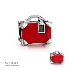 Soufeel Red Travel Suitcase Charm 925 Sterling Silver Compatible All Brands Basic Bracelet. For Every Memorable Day