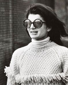 ERLUM MUSE: Jackie Kennedy Onassis wearing this fringed sweater, NYC, Fall 1969.
