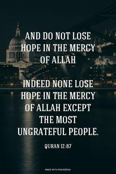 وَلَا تَيْئَسُوا مِنْ رَوْحِ اللَّهِ إِنَّهُ لَا يَيْئَسُ مِنْ رَوْحِ اللَّهِ إِلَّا الْقَوْمُ الْكَافِرُونَ и не теряйте надежды на милость Аллаха, ибо отчаиваются в милости Аллаха только люди неверующие».And do not lose hope in the mercy of Allah; indeed none lose hope in the mercy of Allah except the most ungrateful people.