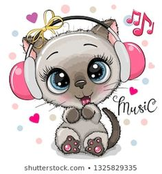 Cartoon Cat girl with headphones on a white background. Cute cartoon Kitten girl with pink headphones on a white background stock illustration Cartoon Cartoon, Disney Cartoon Characters, Cute Cartoon Girl, Cartoon Drawings, Cute Drawings, Pink Headphones, Girl With Headphones, Cartoon Mignon, Art Mignon