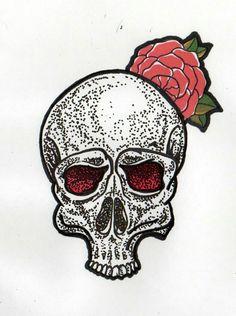 Rose, skull, tattoo, project, Red, black