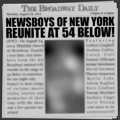Newsboys of New York Reunite at 54 Below! August 24, 2015.