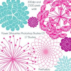 Flower Silhouettes Photoshop Brushes 2, Flower Photoshop Brushes - Commercial and Personal Use. $8.00, via Etsy.