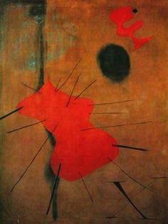 'El punto rojo', Oil by Joan Miro (1893-1983, Spain)