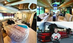 The motorhome that costs £8,000 A NIGHT and reaches speeds of up to 100mph: Lavish tour bus used by F1 aces Jenson Button and Jacques Villeneuve transformed into luxury getaway