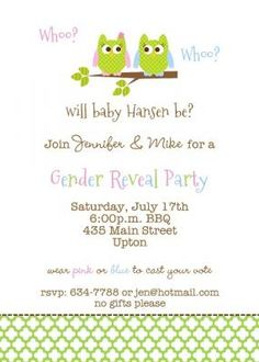 Whoo.. Whoo..?  Baby Owl Gender Reveal Party Invitation
