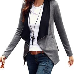 2016 Autumn Winter Korean Style Long Sleeve Slim Turn Down Collar Side  Zipper Coat Jacket Women Cardigan Casaco Feminino(China (Mainland)) 1d1158b50e30