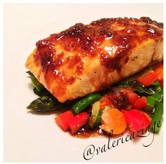 SLOW ROASTED SALMON WITH GINGER GLAZE AND VEGGIE STIR FRY