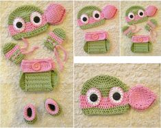 New Handmade Crochet TMNT Ninja Turtles 6 Piece Set (Leonardo). The diaper cover is fully adjustable at the waist, will fit baby up to 6 months. Girl Ninja Turtle, Crochet Ninja Turtle, Ninja Girl, Ninja Turtles, Crochet Bebe, Crochet Baby Hats, Baby Knitting, Crochet Roses, Crochet Crafts