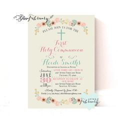 First Holy Communion Invitation // Holy Communion by AfterFebruary