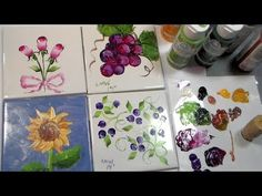 Learn to paint rose buds, blueberries, sunflowers and grapes on glazed ceramic tiles from the home improvement store using Folk Art Acrylic Enamel paint. The...