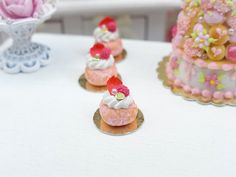 1:12 scale // Pink Ispahan Baba  Miniature French Pastry in by ParisMiniatures, $18.00
