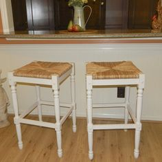 @Overstock.com - 30 inch Antique White Morgan Bar Stool - This comfortable white barstool features a woven rush seat for comfort and an antique-white finish that will look great with your decor. The stool's 30-inch height is ideal for counter seating, and the solid hardwood frame provides durability.  http://www.overstock.com/Home-Garden/30-inch-Antique-White-Morgan-Bar-Stool/7295306/product.html?CID=214117 $80.99