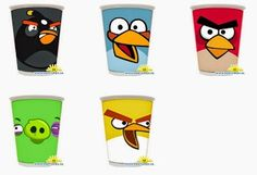 Angry Birds: Free Printables for Glasses and Cups.