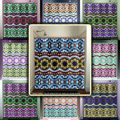 blue mexican talavera tile shower curtain bathroom decor fabric kids bath window curtains panels valance bathmat