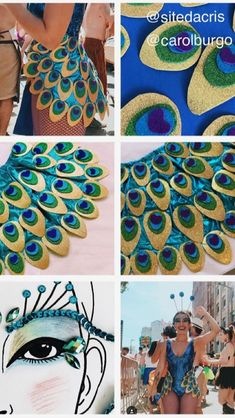 Idea for making own version Carnival Costumes, Diy Costumes, Dance Costumes, Cosplay Costumes, Peacock Costume, Fantasias Halloween, Halloween Disfraces, Rave Outfits, Festival Outfits