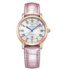 Scheppend Rose Goldtone Case Leather Strap Wrist Watch for WomenPink -- Visit the image link more details. (Note:Amazon affiliate link)