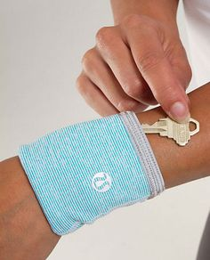 Lululemon Running Key Cuff:    Enjoy your run without worry. This key cuff safely keeps contents secure to your wrist. It's also great for holding cash and credit cards.