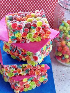 •1 x 400g bag of mini marshmallows•10 cups Trix cereal•¼ cup butter.Instructions1.Place the butter and marshmallows in a glass bowl and pop in the microwave for about 2 to 3 minutes to melt.2.Stir well.3.Mix in your trix and stir.4.Pour into a large greased pan (9 x 13 or 11 x 11) and press down with a spoon.5.Cut into squares.6.Serve with a colorful smile! Notes! If you spray your spoon with non stick spray before using it to press down the krispies it works really well. Feel free…