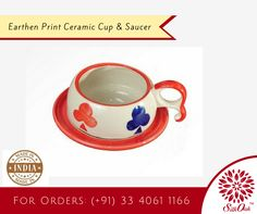 Earthen print ceramic cups & saucers are extremely popular with our customers. They bring a unique sense of style. #CeramicProducts, #handicrafts #CupandSaucer