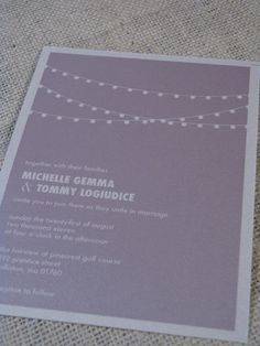 Michelle Wedding Invitation  Purple  Metallic by ohsochicdesigns, $4.50