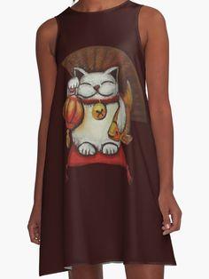 """White Maneki neko with a Japanese lantern and koi"" A-Line Dresses by farawayart | Redbubble"