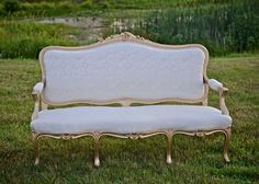 Vintage Rustic Wedding Gold and Ivory Loveseat Uniquely Chic Vintage Rentals @vintagerentalri www.uniquelychicvintage.com Photos: Stacy Smith Studios  #blushwedding #ivorywedding #Vintagewedding  #rusticwedding
