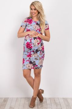 Blue Floral Fitted Maternity Dress