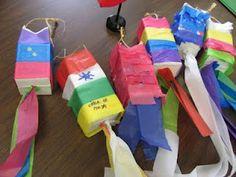 Cinco de Mayo pinatas made from empty milk cartons. Fun craft idea instead of milk cartons do water bottles Classroom Crafts, Preschool Crafts, Fun Crafts, Crafts For Kids, Arts And Crafts, Preschool Ideas, Craft Ideas, Teaching Ideas, Fun Ideas