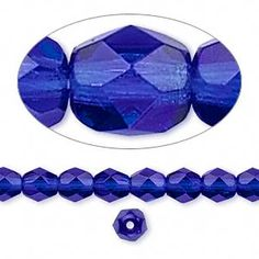 Bead, Preciosa® Czech fire-polished glass, cobalt, 6mm faceted round. Sold per 16-inch strand.