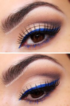 Blue eyeliner with blue lower lash mascara. I'll have to buy some black mascara. Makeup Geek, Love Makeup, Skin Makeup, Makeup Inspo, Makeup Inspiration, Makeup Tips, Beauty Makeup, Makeup Looks, Makeup Tutorials