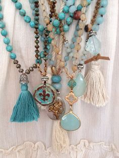 ❥turquoise Bohemian glam blues natural earth tone mixed gemstone boho tassel long layering necklace by MarleeLovesRoxy Bohemian Jewelry, Diy Jewelry, Beaded Jewelry, Jewelry Box, Jewelry Accessories, Handmade Jewelry, Jewelry Necklaces, Jewelry Making, Pearl Jewelry