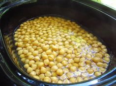How to Make Dried Chickpeas in a Crock-Pot from Food.com:   								It was a garage sale bargain I couldn't resist.  So after all these years, I am first using a crockpot--and one of the first things I made was this--and these chickpeas are outrageously good.  No more canned chickpeas for me.