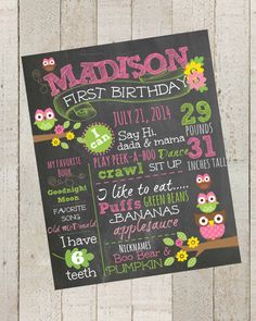 First Birthday Chalkboard Pink Owls and by themilkandcreamco, $15.00 First Birthday Chalkboard -Pink Owls and Flowers- 100% CUSTOMIZED Poster Sign Birthday Printable File
