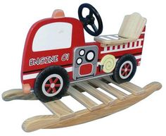 Shop for Teamson Kids Fire Engine Rocking Horse. Get free delivery On EVERYTHING* Overstock - Your Online Toys & Hobbies Shop! Fire Truck Nursery, Firefighter Baby, Ride On Toys, Truck Design, Fire Engine, Fire Trucks, Kids Furniture, Baby Love, Baby Baby