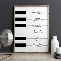 Noir blanc poster Design Nordic piano toile art Peinture décoration maison pas de cadre 1 pièce