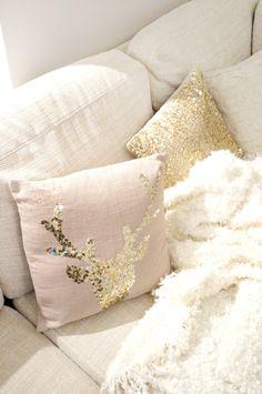 Gold sequin Christmas throw pillows