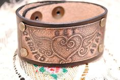 Etched Copper Bracelet Leather Cuff Get Carried by QueSarahSera, $35.00