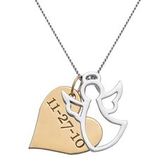 Angel Among Us Two-Tone Memorial Necklace