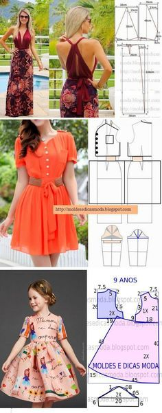 podruzhkii.ru Smocking Patterns, Dress Sewing Patterns, Clothing Patterns, Dressy Dresses, Simple Dresses, Sewing Clothes, Diy Clothes, Blog Couture, Diy Embroidery