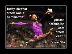 Gymnastics Motivation Poster Simone Biles Gymnast Photo Quote Wall Art Print…