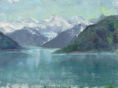 New listing in my shop! Glacier Waters plein air oil on linen. This little plein air study was so much fun to paint. It would make a lovely calming addition to any space. Please share!