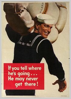 """Nebraska native John Falter did this famous World War 2 poster. He also did several covers for """"Saturday Evening Post"""" Ww2 Posters, Political Posters, Funny Posters, Retro Posters, Propaganda Ww2, Loose Lips Sink Ships, Mundo Comic, Humor Grafico, Military History"""
