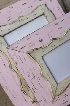Uber Distressed Shabby Chic Wood Pale Pink and Vintage White Nursery Frame 8x10. $65.00, via Etsy.