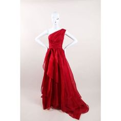 Pre-Owned Marchesa Red Silk One Shoulder Draped Full Gown Sz 4 ($850) ❤ liked on Polyvore featuring dresses, red, drapey dress, red zipper dress, one shoulder dress, red silk dress and preowned dresses