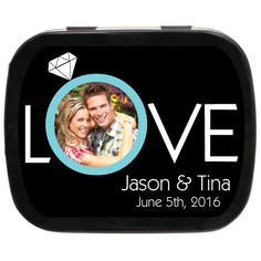 What a cute idea! And the tin can be a unique keepsake for those who choose to take them home. Personalized Wedding Favors, Unique Wedding Favors, Engagement Favors, Engagement Photos, Mint Tins, Wedding Keepsakes, Special Day, Love, My Favorite Things